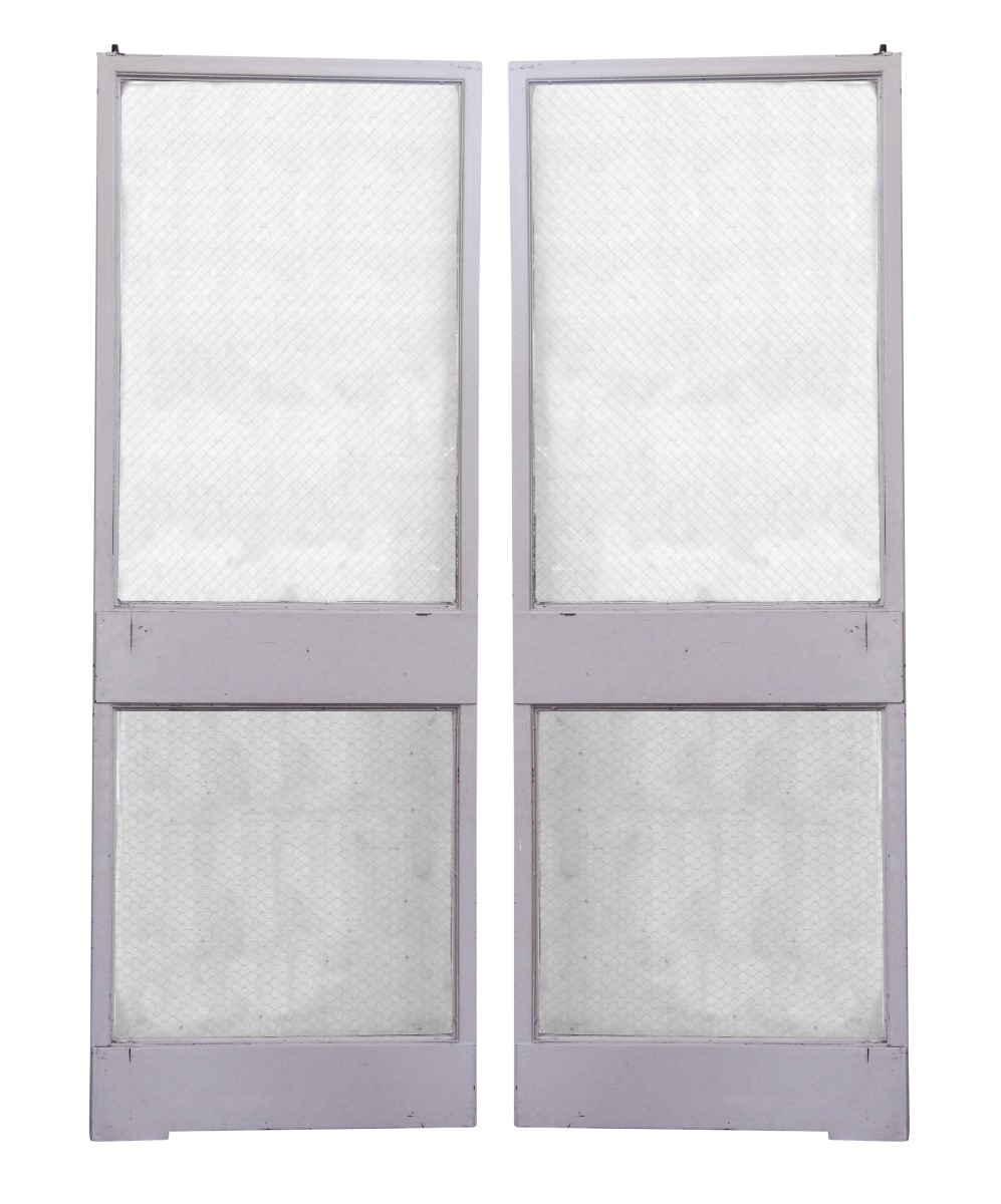 Commercial Doors   Classic Metal Frame Double Doors With Two Chicken Wire  Glass Panels
