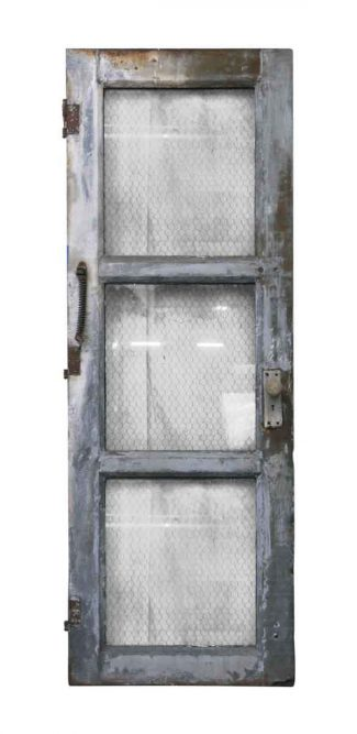 Steel Frame 3 Panel Chicken Wire Glass Door