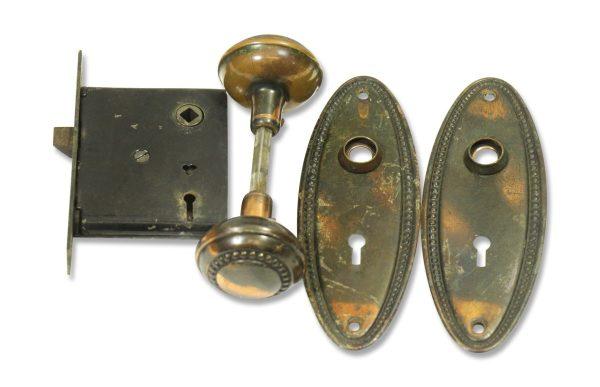 Door Knob Sets - Beaded Copper Wash Concentric Entry Door Knob Set
