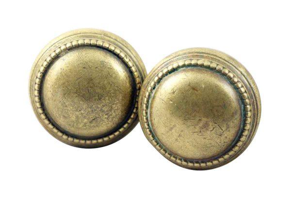 Door Knobs - Beaded Concentric Brass Door Knob Set
