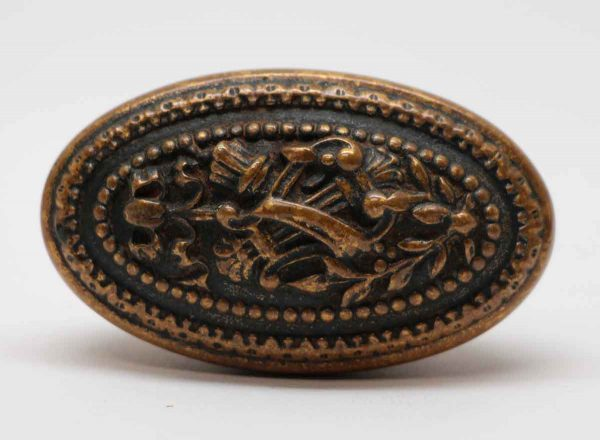 Door Knobs - Cast Bronze Beaded Harp Oval Ornate Door Knob