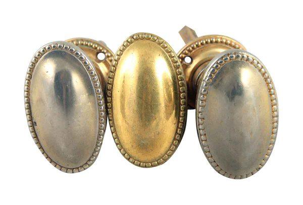 Door Knobs - Gold & Silver Plated Oval Beaded Edge Door Knob Set Lot