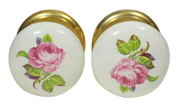 Door Knobs - Porcelain Pair of Floral Door Knobs with Brass Rosettes