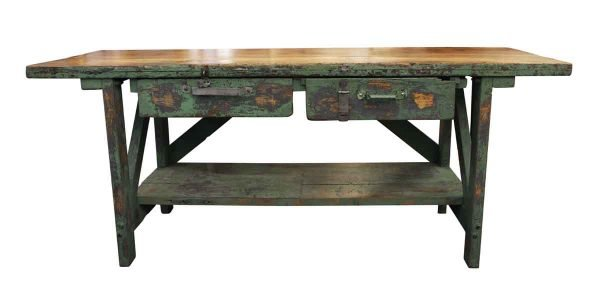 Industrial - Large Industrial Green Painted Work Table