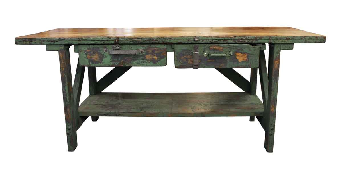 Exceptionnel Industrial   Large Industrial Green Painted Work Table