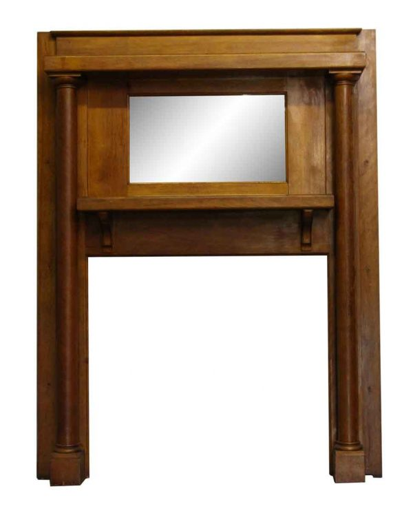 Mantels - Wooden Red Birch Mantel with Over Mantel Mirror