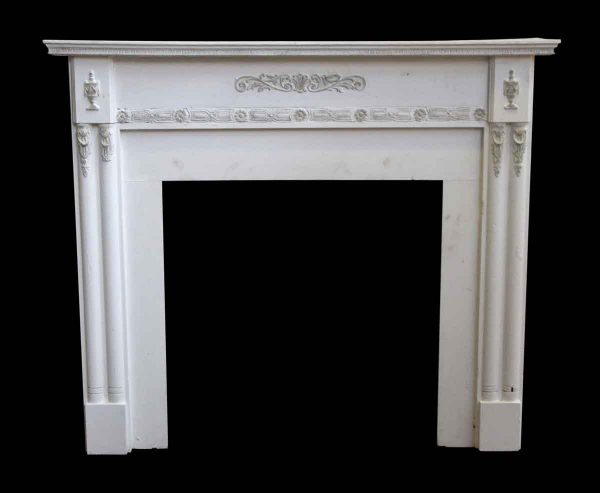 Mantels - Wooden White Antique Mantel with Urn Motifs