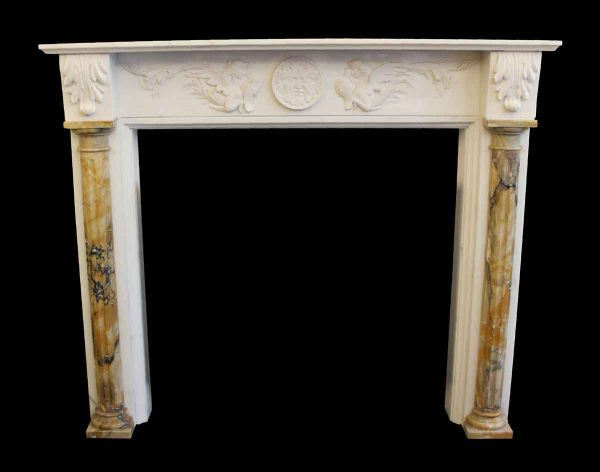 Marble Mantel - Reproduction Marble Mantel with Figural Detail