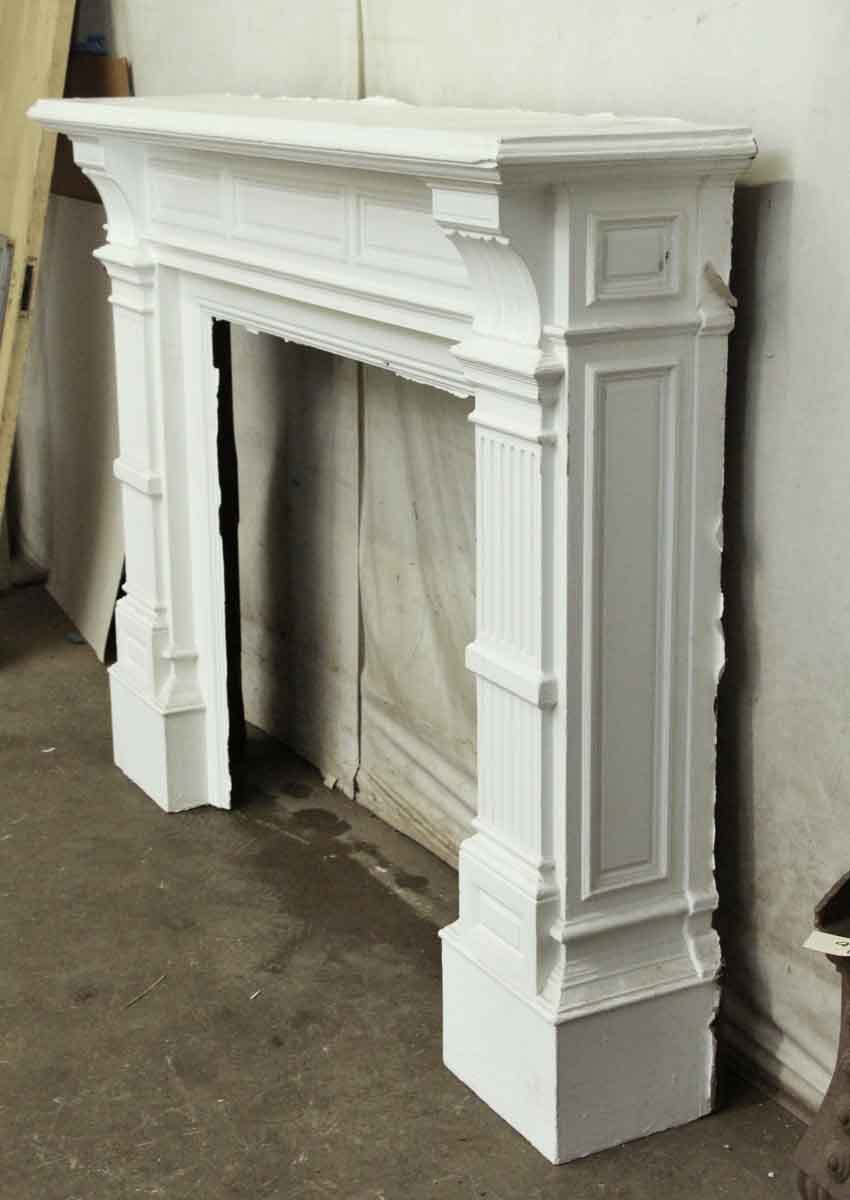 Baroque Style White Antique Wooden Mantel | Olde Good Things
