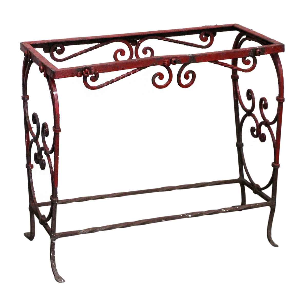 Patio Furniture Wrought Iron Red Side Table Or Aquarium Stand