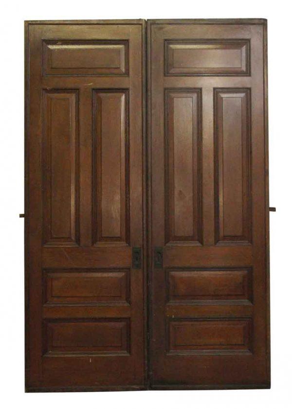 Pocket Doors - American Chestnut Double Pocket Doors with Original Hardware
