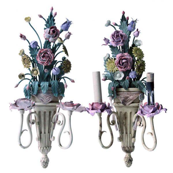 Sconces & Wall Lighting - Vintage Italian Floral Metal Sconces