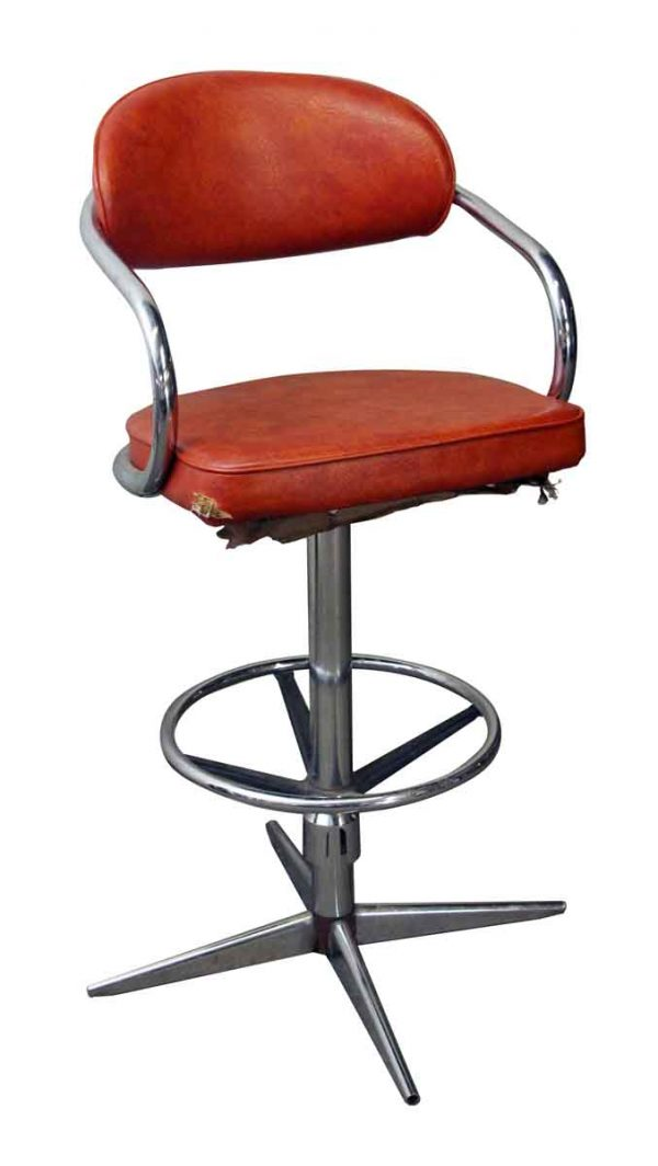 Seating - Chromcraft Mid Century Vinyl Orange Swivel Chair