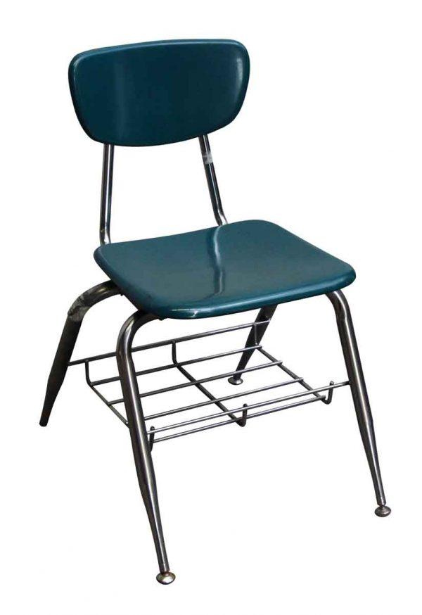 Seating - Green Bakelite School Chair with Chrome Legs & Storage Basket