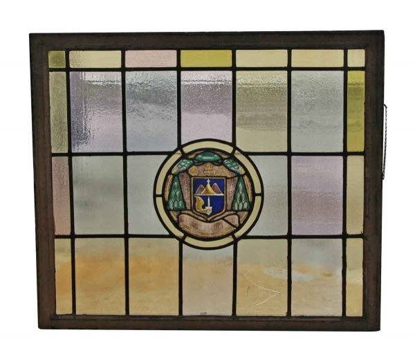 Stained Glass - Large Pastel Leaded Glass Window with Center Shield Motif