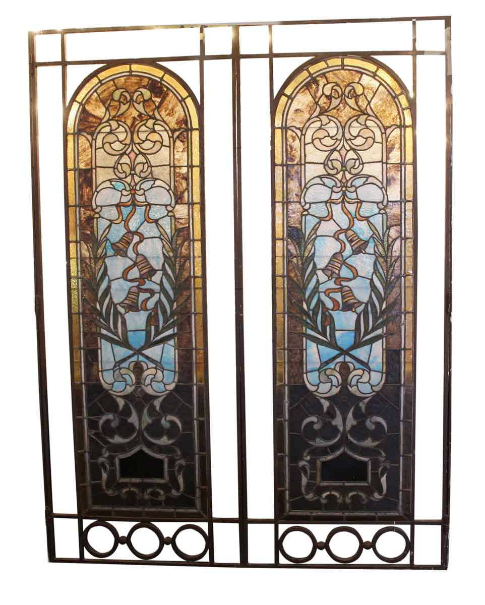Pair Of Hinged Large Stained Glass Windows