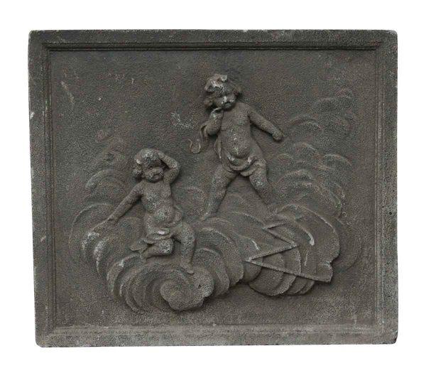 Stone & Terra Cotta - Salvaged Cherubic Square Stone Frieze