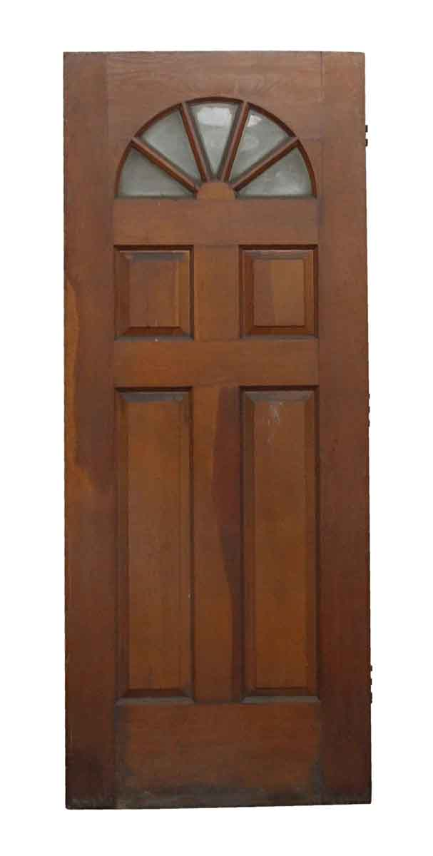 Salvaged Entry Door With Fan Shaped Glass Panes Olde Good Things
