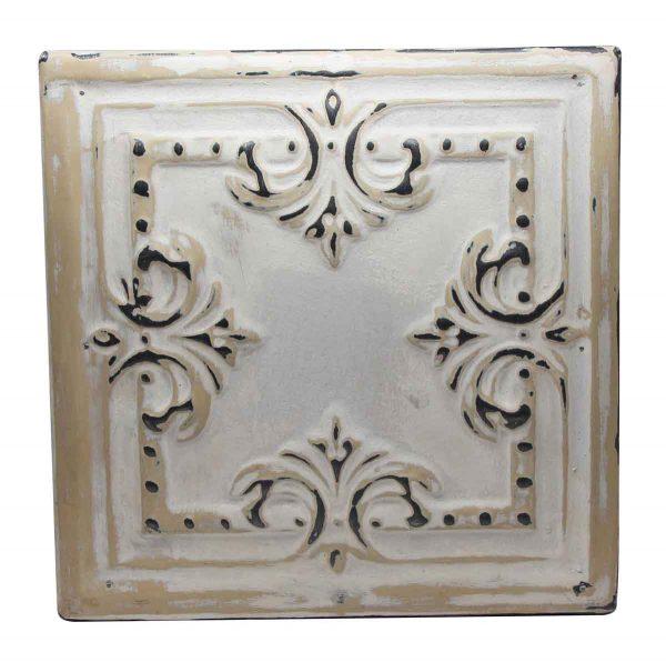 Tin Panels - Tan & White 4 Fold Tin Panel
