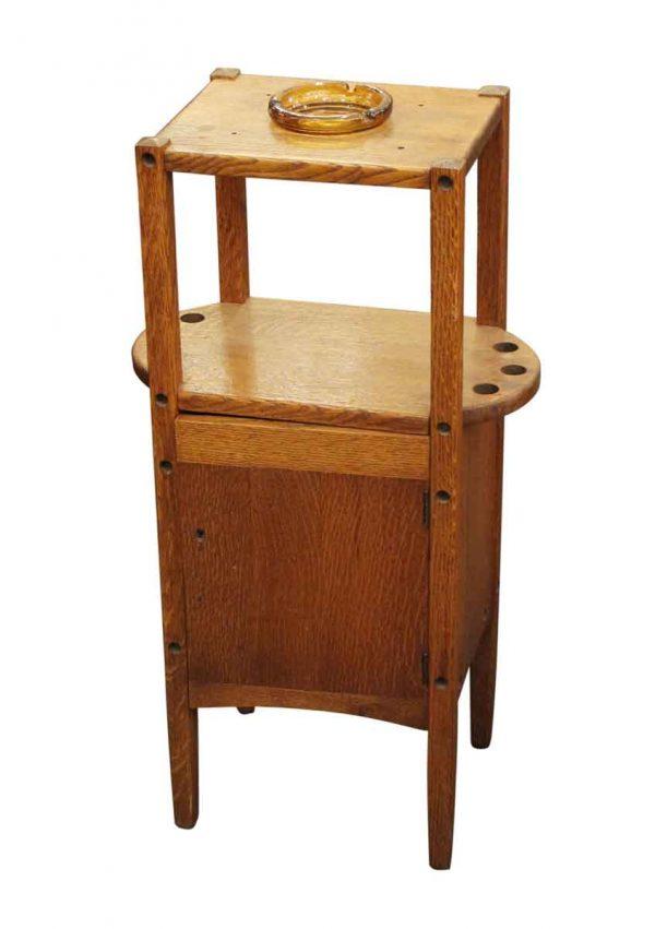 Unique Pieces - Vintage Humidor Oak Pipe & Ashtray Stand
