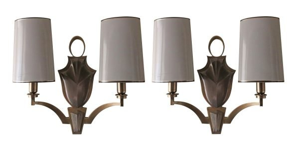 Waldorf Astoria - Waldorf Astoria Modern Cast Brass Sconces with White Metal Shades