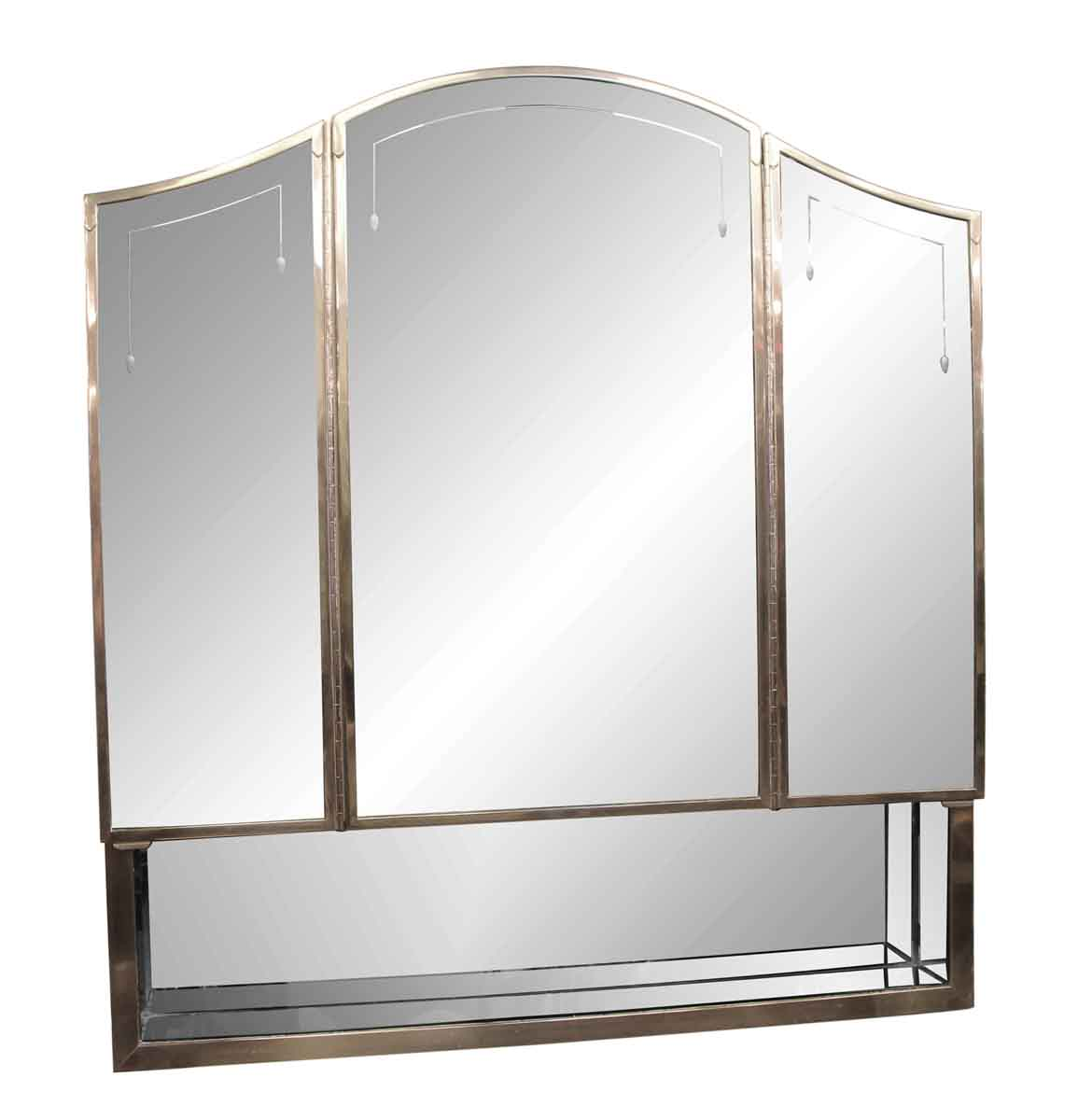 Art Deco Medicine Cabinet With Etched Triple Mirror And Nickel Frame From The Waldorf Astoria Olde Good Things