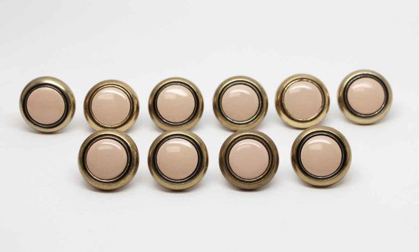 Cabinet & Furniture Knobs - Set of 10 Brass Cabinet Knobs with a Pink Center
