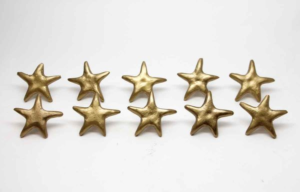 Cabinet & Furniture Knobs - Set of 10 Brass Starfish Cabinet Knobs