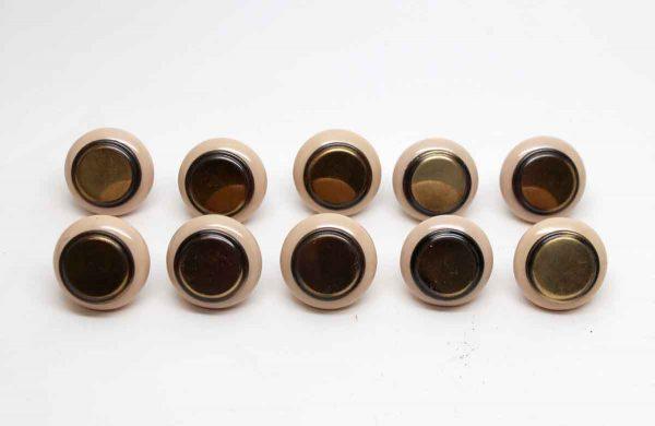 Cabinet & Furniture Knobs - Set of 10 Porcelain & Brass Cabinet Knobs