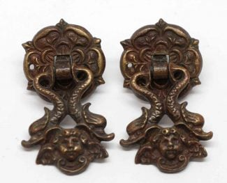 Pair Of Bronze Victorian Cherubic Drawer Pulls