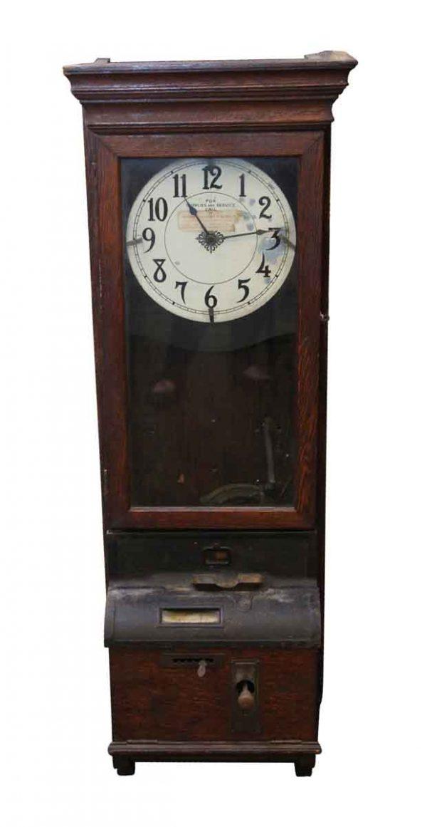 Clocks  - Antique Time Clock with Quarter Sawn Oak Case
