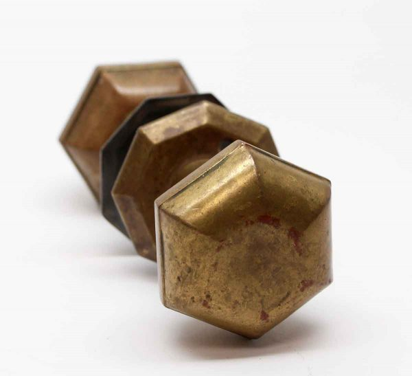 Door Knobs - Hollow Brass Hexagon Door Knob Set with Rosettes