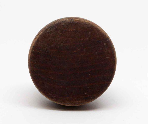 Door Knobs - Vintage Flat Round Wooden Door Knob with Cast Iron Shank