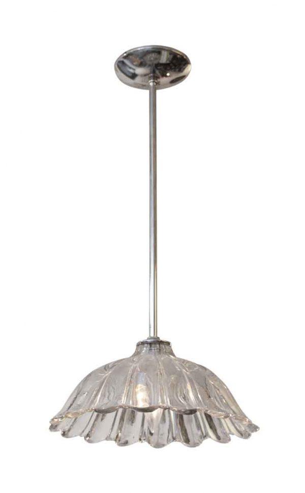 Down Lights - Glass Pendant Light with Chrome Pole