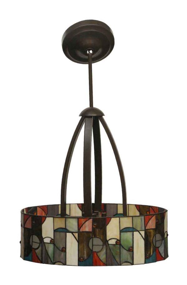 Drums - Modern Stained Glass & Bronze Pendant Light