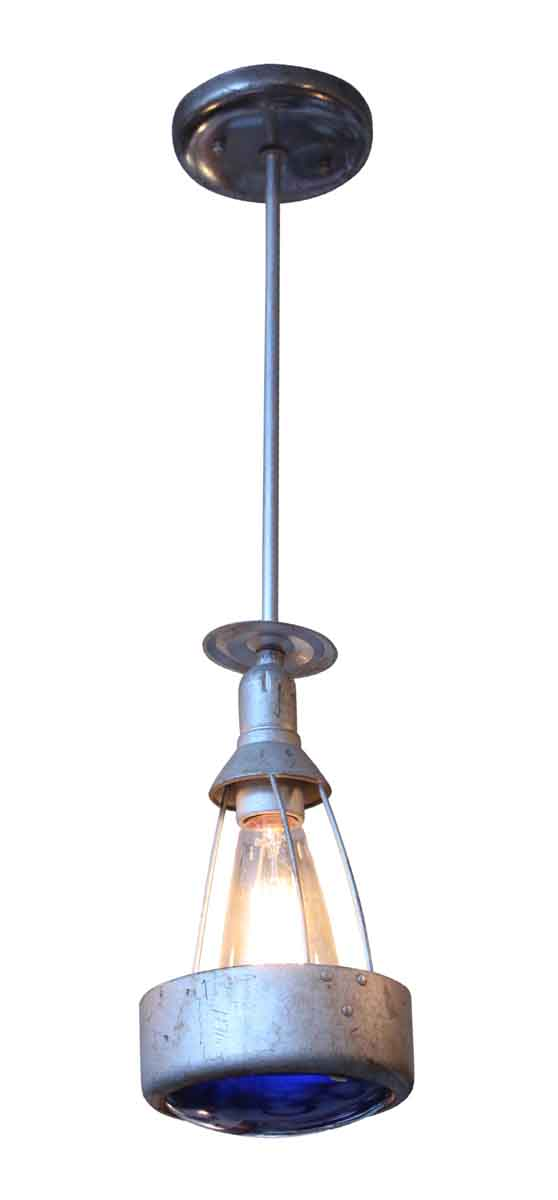 Industrial & Commercial - Metal Industrial Light with Blue Glass