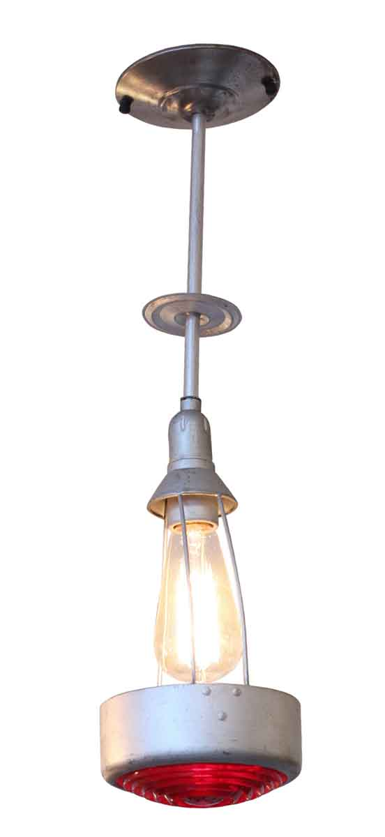 Industrial & Commercial - Vintage Metal Light with Red Glass