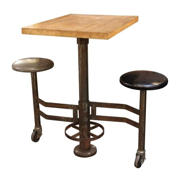 Industrial - Industrial Wall Mounted Counter Height Table with Attached Rolling Stools