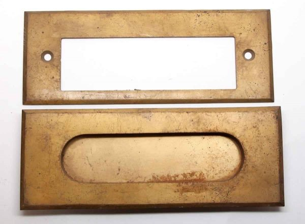 Mail Hardware - Modern Brass Plated Steel Mail Slot Set