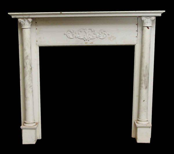 Mantels - White Wooden Antique Mantel