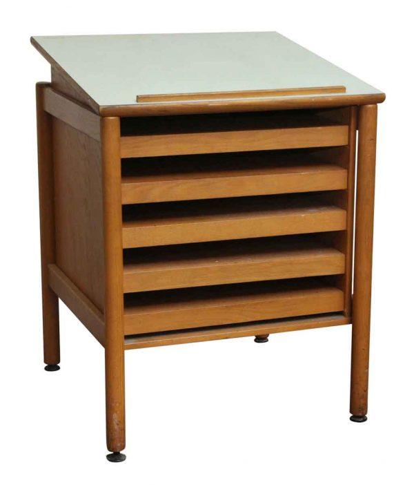 Office Furniture - Salvaged Blueprint Storage Drafting Table