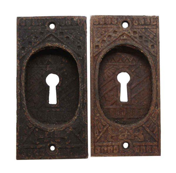 Pocket Door Hardware - Aesthetic Cast Iron Pair of Pocket Door Recessed Pulls