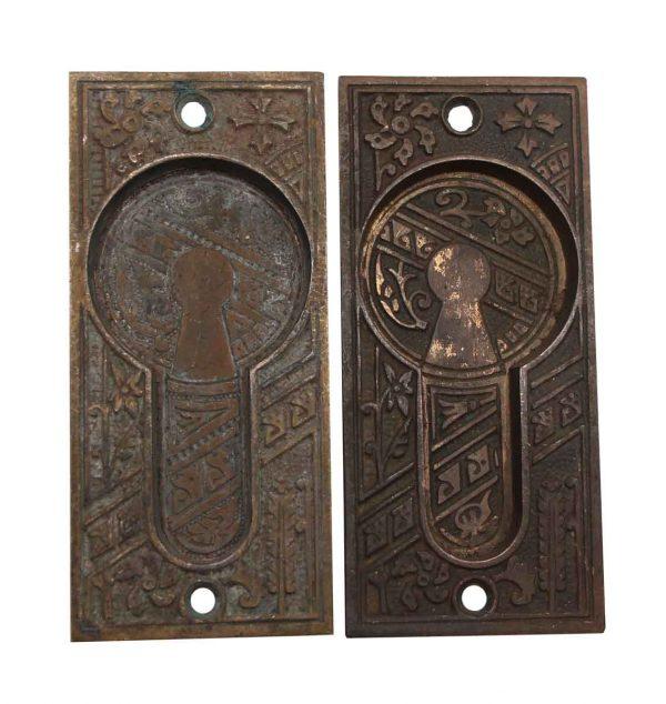 Pocket Door Hardware - Bronze Aesthetic Pair of Pocket Recessed Door Plates