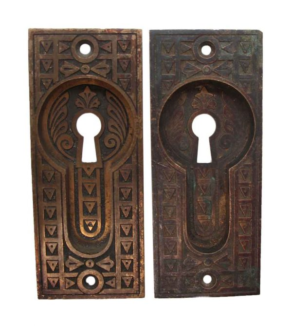 Pocket Door Hardware - Bronze Aesthetic Recessed Pair of Pocket Door Plates