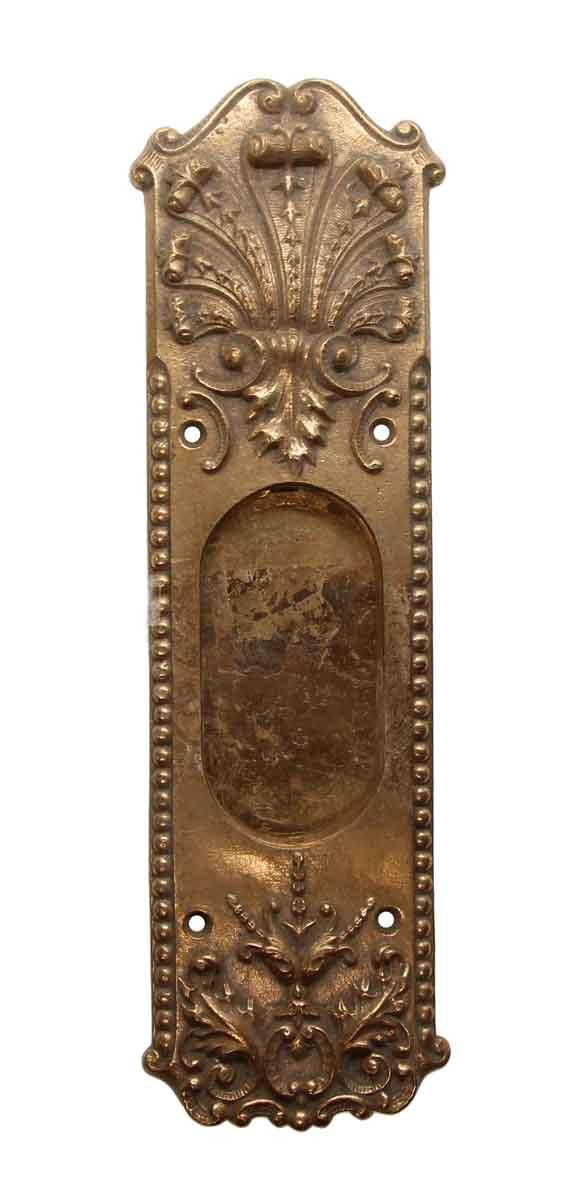 Pocket Door Hardware - Cast Brass French Ornate Pocket Door Plate