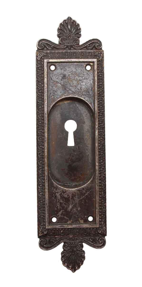 Pocket Door Hardware - Neoclassical Bronze Keyhole Pocket Door Plate