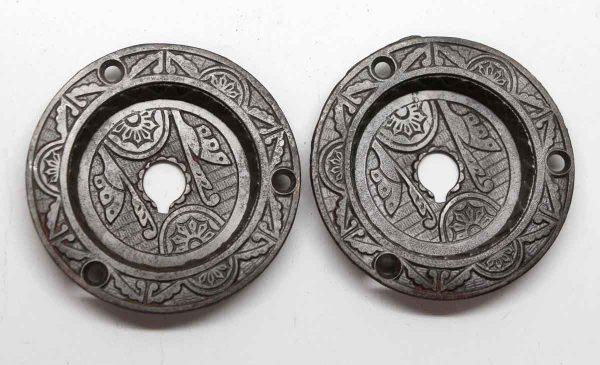 Pocket Door Hardware - Pair Aesthetic Cast Iron Round Pocket Door Plates