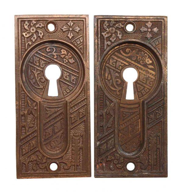 Pocket Door Hardware - Pair of Aesthetic Bronze Keyhole Recessed Pocket Door Plates