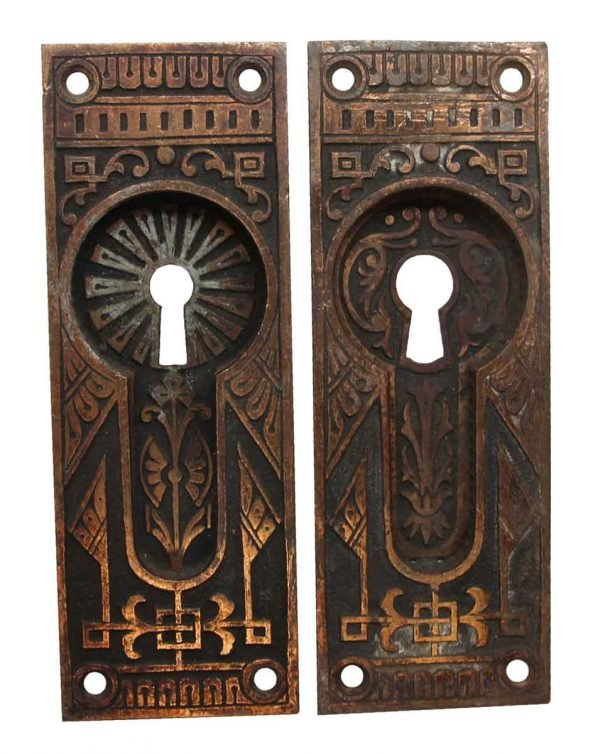 Pocket Door Hardware - Pair of Aesthetic Bronze Recessed Pocket Door Plates