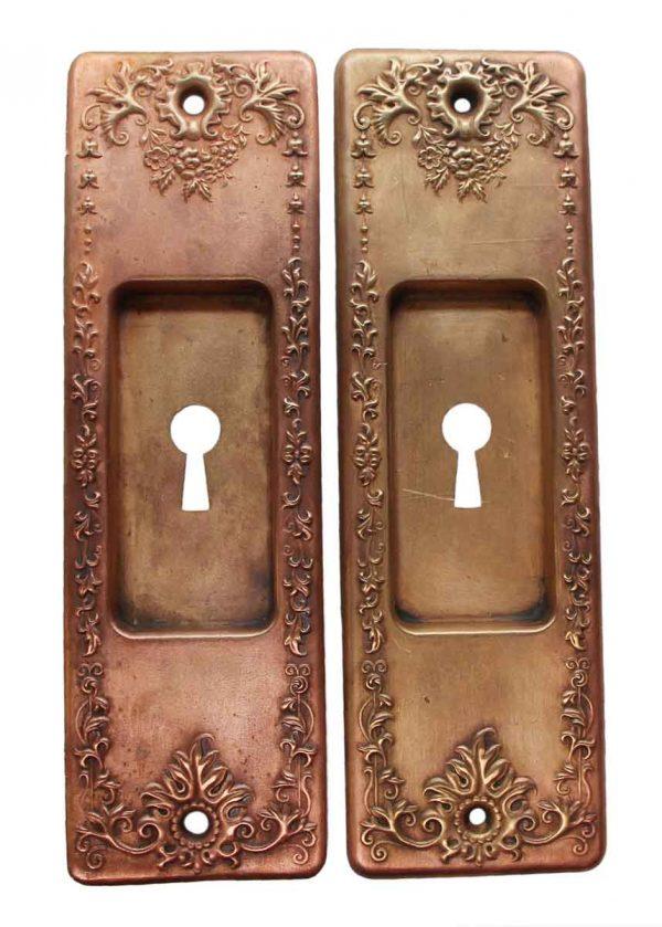 Pocket Door Hardware - Pair of Copper Plated Brass Pocket Door Plates